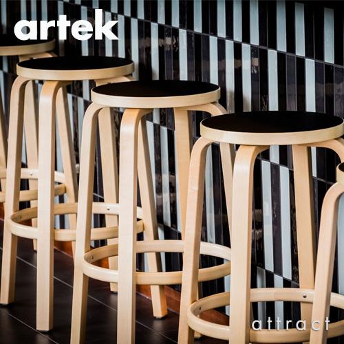 Artek アルテック 64 HIGH STOOL 64 ハイスツール 高さ:2タイプ(65cm・75cm) 座面・脚部(ブラックラッカー仕上げ) デザイン:アルヴァ・アアルト