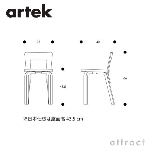 Artek アルテック CHAIR 65 チェア 65 バーチ材 座面・脚部(ホワイトラッカー仕上げ) デザイン:アルヴァ・アアルト