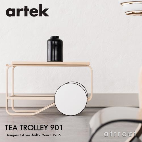 Artek アルテック TEA TROLLEY 901 ティートローリー901 バーチ材 クリアラッカー仕上げ カラー:ブラックリノリウム・ホワイトラミネート デザイン:アルヴァ・アアルト
