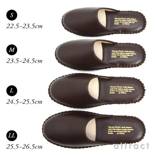 WINCL ウィンクル Leather Slippers レザースリッパ ステア革 本革スリッパ カラー:5色 (4サイズ) ルームシューズ